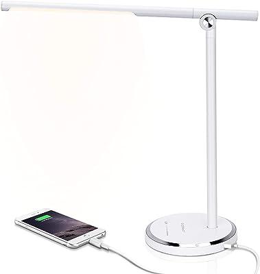 Aigostar - Lámpara Escritorio LED, Puerto USB, Control Táctil, 5 Modos, 10 Niveles de Brillo. Flexo, Función de Memoria, 8W, Blanco