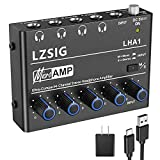 LZSIG Headphone Amp 4 Channels Metal Stereo Audio Amplifier,Mini Amplifier Headphone Splitter-6.35mm / 1/4'TRS Headphone Output and 6.35mm / 1/4'TRS Audio Input, with Power Supply-LHA1