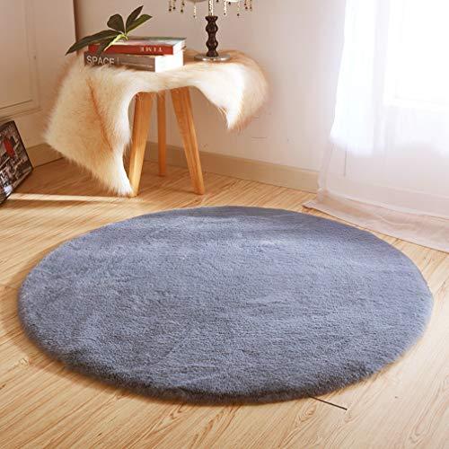 JXLOULAN Alfombra de pelo de conejo sintético - Alfombra suave y antideslizante para sala de estar, dormitorio, sofá o guardería 120 cm- Round gris