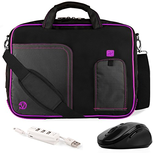 VanGoddy Pindar Purple Plum Trim Messenger Bag w/USB HUB and Wireless Mouse for MSI GS30 Shadow 13inch Gaming Laptop