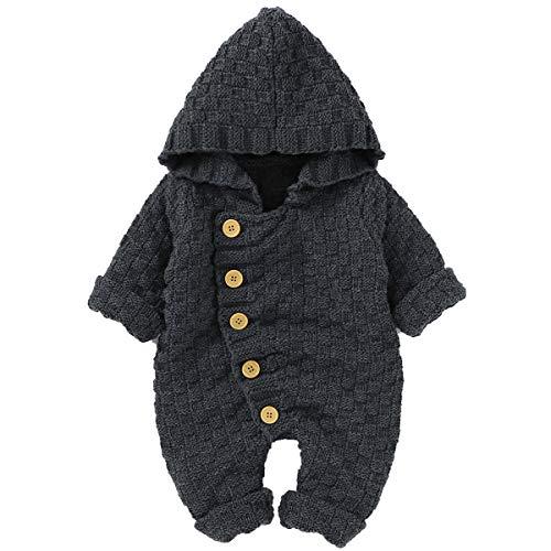 Wallfire Mono de Bebé Recién Nacido Suéter de Punto de Punto Mamelucos de Manga Larga con Capucha para Niño Ropa de Niño Niña