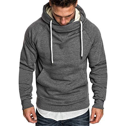 UINGKID Herren Pullover Hoodie Sweatshirt Mode Langarm Rundhals einfarbig Druck Tops Bluse