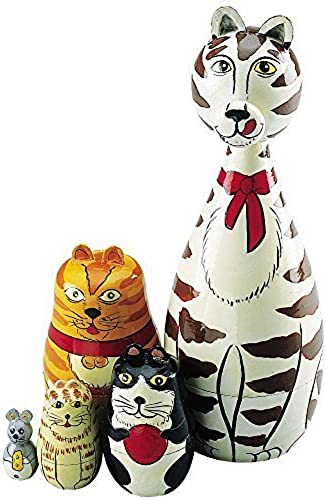 Wooden Russian Nesting Dolls Cat Figurines-Matryoshka Doll Animal Figurines-Stacking Dolls Set of 5 by Melville Direct