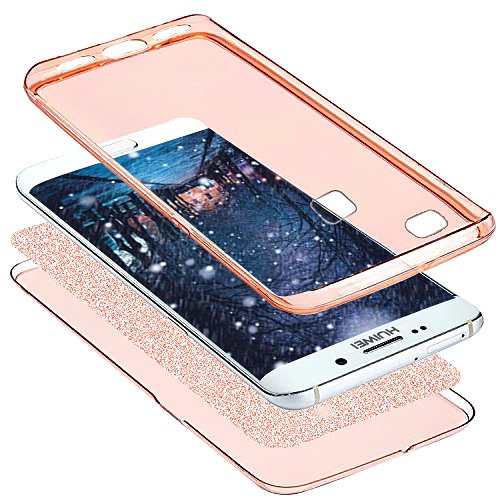 Kompatibel mit Huawei P9 Lite Hülle Schutzhülle Case,Full-Body 360 Grad Bling Glänzend Glitzer Durchsichtige TPU Silikon Hülle Handyhülle Tasche Front Cover Schutzhülle für Huawei P9 Lite,Rose Gold - 3