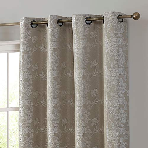 HLC.ME Serenity Floral 100% Complete Blackout Thermal Insulated Energy Savings Heat/Cold Blocking Floor Length Grommet Curtain Drapery Panels for Bedroom & Living Room, 2 Panels (52 W x 84 L, Taupe)