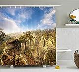 Naturw&er Der Weltnationalpark Felsformation Tschechisches Bild Himmelblau Hellbraun Creme Olivgrün Duschvorhang Wasserdicht Badezimmer Dekor Polyester Stoff Vorhang Sets Haken 60x72 Zoll