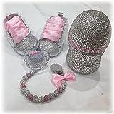 Luxus Set de regalo con nombres, Chupete, zapatos de strass, cadena con nombres, regalo Bautizo, de felicitación de nacimiento, color rosa, blanco, brillantes Botella, Baby Shower Girl Talla:6-12m