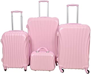 New Travel Luggage Trolley Bags, Set of 4 Pieces, Pink