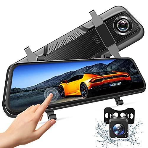 "Cámara dual 1080P espejo Dash Cam con pantalla táctil completa IPS de 10"" con cámara de visión trasera de respaldo impermeable, visión nocturna, monitor de estacionamiento, grabación en bucle"