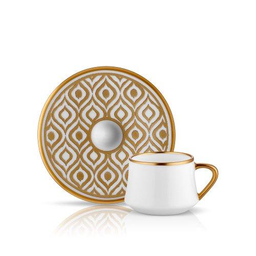Espresso-/Mokka-Tasse und Untertasse aus Porzellan mit Goldrand und goldener Verzierung Pfauenfeder 90 ml 6er Set