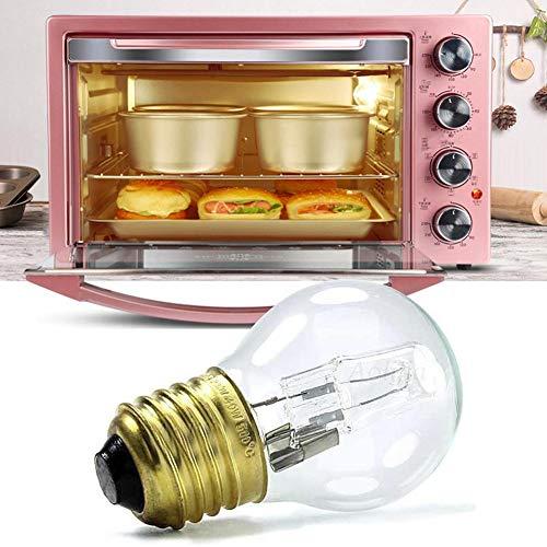 Foyar - Bombilla halógena para horno (E27, 40 W, luz blanca cálida, resistente al calor, 110-250 V, 500 °C, resistente al calor)