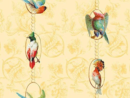gelbe, sonnige Vintage Paradies Vogel Tapete Birds on a string mit Papageien auf Barock Muster - Vlies Tapete Ornamente Tiere Streifen - GMM Wandtapete (für halb hohe Wände H: 1,5m B: 46.5cm)