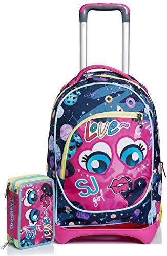 seven. Schoolpack Zaino Trolley SJ Gang Girl Love Sganciabile + Astuccio Pen Pad Completo