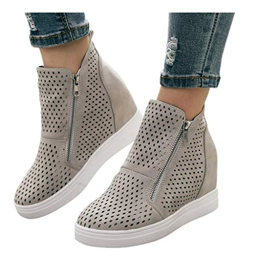 Cenglings Women Round Toe Hollow Out Increase Height Zipper Ankle Boots Flat Wedges Shoes High Heel Office Work Shoes Gray