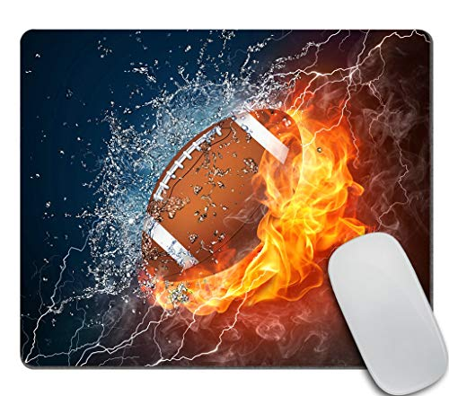 Amcove Mouse Pad Football Ball in Fire and Water Mousepad Rubber Gaming Mat 9.5 X 7.9 Inch (240mmX200mmX3mm)