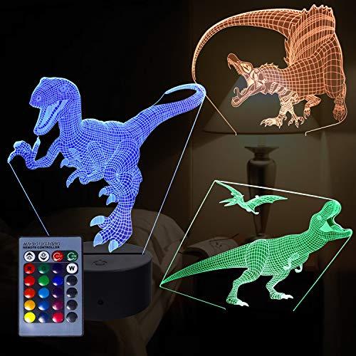 3D Dragon Night Light, lámpara de ilusión 3D con 3 patrones de animales y 16 interruptores de color con control remoto