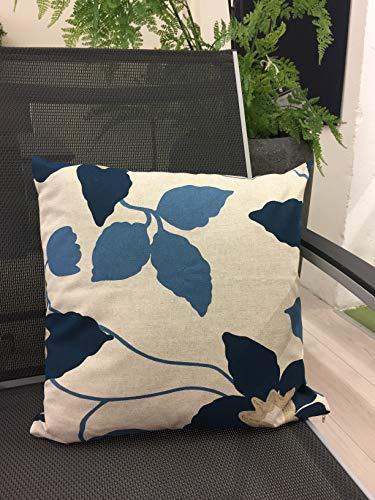 Peter schattige decoratiekussen 40x40cm blad natuur/blauw cocktailkussen sofa tuinmeubelen lounge