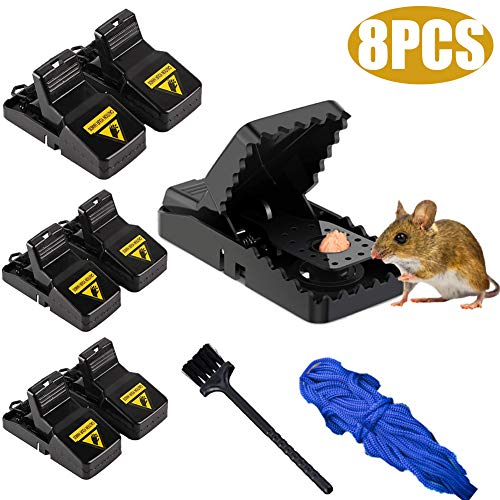 8PCS Mouse Traps for Indoors and Garden,Effective Mousetrap,Reusable Humane Rat Traps,Rat Snap Trap,Refillable Bait Trap without Posion,Easy Setting,Easy to Empty without Touching the Mouse,Black