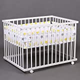 Laufgitter Babylaufgitter Laufstall 100x75cm Komplettset Babylaufstall 3-fach höhenverstellbar WEISS 46500-01