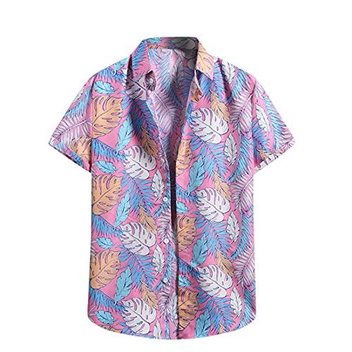 Camicia da uomo hawaiana casual casual a maniche corte slim fit, S_rosa, XXL