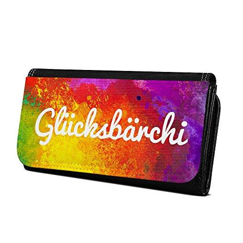 Geldbörse mit Namen Glücksbärchi - Design Color Paint - Brieftasche, Geldbeutel, Portemonnaie, personalisiert für Damen und Herren