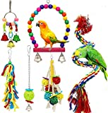 Dofyou 6pcs Bird Parrot Toys Hanging Bell Chewing Natural Wood and Rope Bungee Bird Toy for Small Parakeets Cockatiels, Conures, Macaws, Parrots, Love Birds, Finches