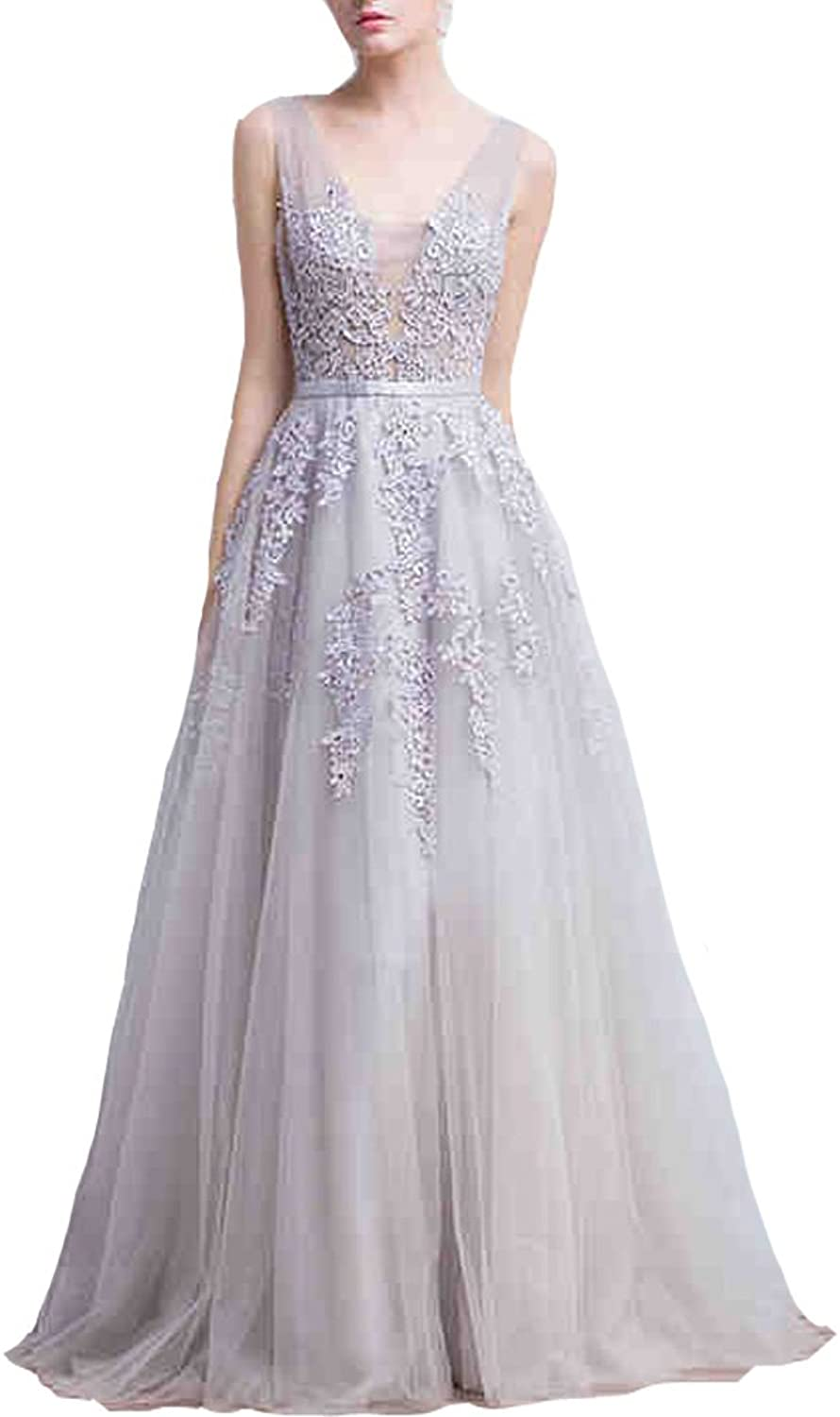 Lemai Tulle Backless Sheer Top Lace Appliques Long Beaded Prom Evening Dresses