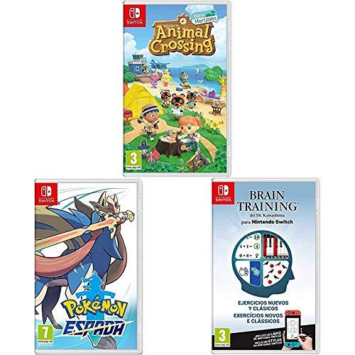Animal Crossing: New Horizons + Pokémon Espada + Brain Training