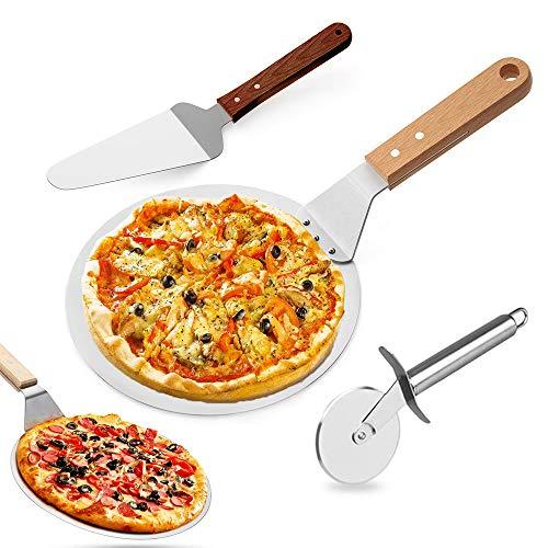 Pizzaschieber Pizzaschneider Pizzaschaufel 3 in 1 Set, Edelstahl Rund Pizzaheber Pizzaspatel mit Holzgriff, Pizzapaddel Kuchenheber Radschneider zum Backen Pizza Brot Kuchen Kekse im Ofen & Grill