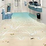 Wandbild Strand Sea Wave 3D Fototapete Benutzerdefinierte Boden Wandbild Pvc Wasserdicht Bad Bodenfliesen Wandbilder Aufkleber Wand Papier Selbstklebend-120X100CM