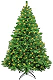 Christmas Tree 7Ft - Batone Artificial Xmas Tree - 1100 Branch Premium Spruce Hinged Christmas Tree with Solid Metal Foldable Stand for Indoor Outdoor Christmas Holiday Decoration, Easy Assembly