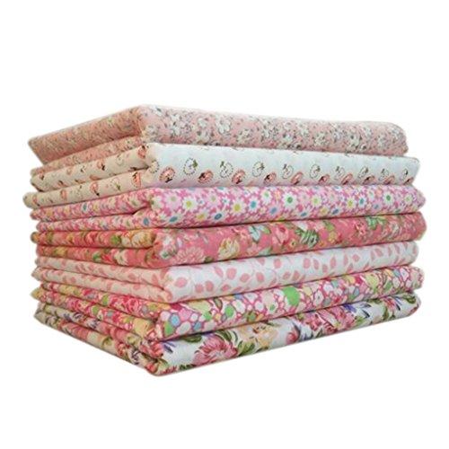 Uzinb 7pcs Tela Que acolcha Set Cuadrados Mixtos Floral de la impresión de Punto a Rayas de algodón de Costura DIY Crafts Remiendo de Tela 50 * 50cm
