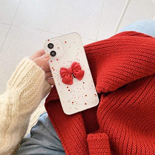 LIUYAWEI Moda 3D Bowknot Funda para teléfono para iPhone 12 Mini 11 Pro MAX XS MAX 7 8 Plus XR SE 2020 Lentejuelas Brillantes Cubierta Trasera Suave Transparente, T1, para iPhone 12