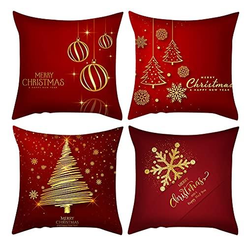 SONGJOY - Set di 4 federe natalizie per cuscini di Natale, 45 x 45 cm, in microfibra rossa, invernale, in velluto di pesca, per divano, camera da letto, casa, ufficio