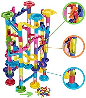 """ONE DAY SALE!!! BIG Marble Run Coaster Maze Toy 115 Pieces Building Set: 82 Blocks + 33 Safe Plastic Marbles. 250"""" Long Ma..."""