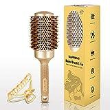 SUPRENT Cepillo redondo 3.3 pulgadas (Barril 2'' / 53 mm) , Ronda de cepillo de pelo para secar con aire, cerdas de jabalí Cepillo de pelo de cepillo, cepillo redondo para diseño Curling pelo