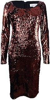 Calvin Klein Womens Sequined Mini Cocktail Dress