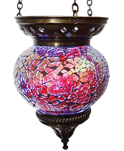 Wghz Moroccan Turkish Mosaic Hanging Lamp Hanging Candle Holder Hanging Candle Holder Lamp Table Or Desk Lamp Lamps Bronze Effect Handmade Unique Crushed Glass Tiffany Style Turkish Moroccan Lamp Red