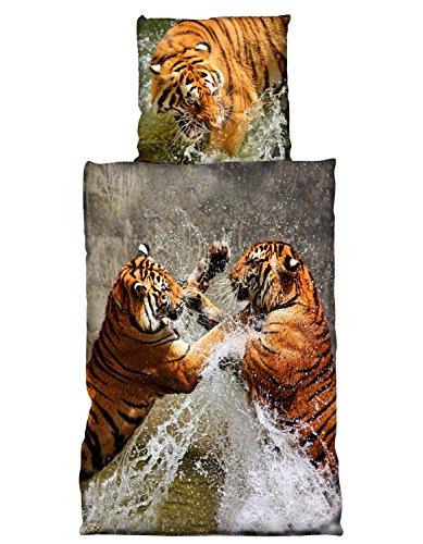 one-home 2 TLG Bettwäsche 135 x 200 cm Baumwolle Tiger braun Premiumdruck 3D Garnitur