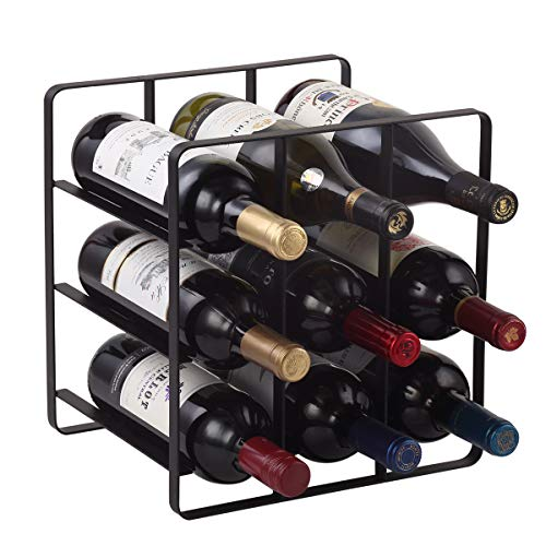 Buruis 9 Bottles Metal Wine Rack, Free-Standing Cabinet Water Bottle and Wine Rack Storage Organizer for Kitchen Countertop, Pantry, Fridge, Space Saver Protector for Red and White Wine Bottle - Black