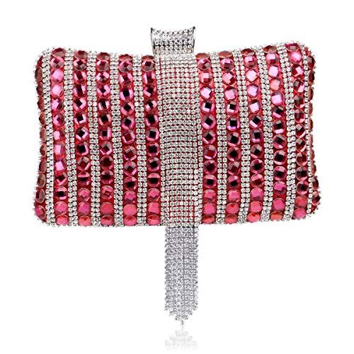MKHDD Luxuriöse Damen-Handtasche mit Strasssteinen, Abendtasche, Partykleid, Clutch, Umhängetasche, hochwertige Handtasche, Rot