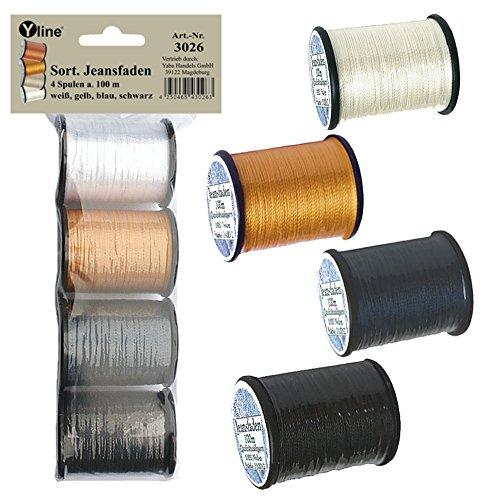Yline 3026 - 4 bobine da 100 m di qualità – Filo da cucito per jeans, Ne 25.3/2, 100{560a575feb67f506c3fd3c56255ff7132e2da317096379d07b2e70e39de40f51} nylon per macchina da cucire, 3026