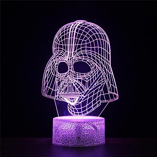 Luz de noche 3D para niños, Star Wars F ilusión 3D al lado de la lámpara de mesa 16 colores cambio automático interruptor táctil decoración escritorio lámparas regalo cumpleaños
