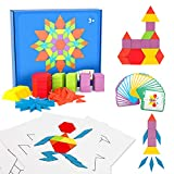 155 Pcs Wooden Pattern Blocks Set - Early Geometry Shape Puzzle for Kids Teach Creativity Sequencing Toys with 24 Design Cards and Set of 10 Double-Sided Learning Advantage Example Pattern Block Cards