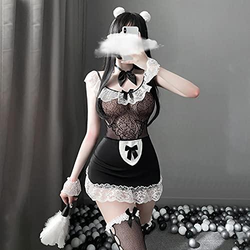 GoodLuck Maid Cosplay Uniforme de Mujer Estilo japonés lencería Sexual Malla Perspectiva Babydoll Sirviente espectáculo erótico Conjunto de Ropa Interior Sexy