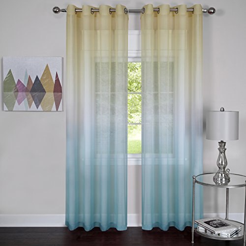 """Achim Home Furnishings, Blue Rainbow Grommet Window Curtain Panel, 52 by 63"""", 52x63 Inches"""
