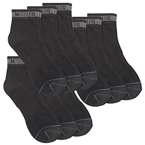Mustang Herren Quarter Socken Basic 9er Pack, Größe:43-46, Farbe:Black (9999)
