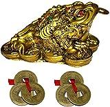 GJ Grand Jhaiji Feng Shui Frog Showpiece Brass Colour