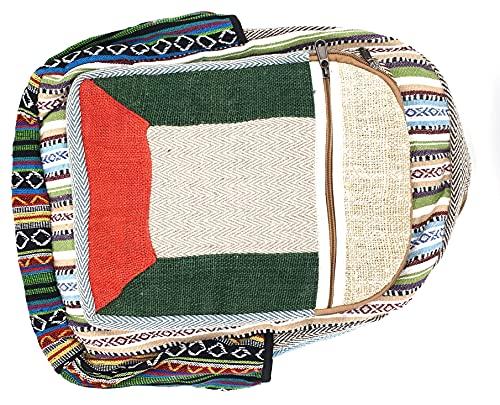 Mochila de cáñamo para portátil hecha a mano en Nepal, ecológica y socialmente sostenible, color verde, rojo, multicolor, tamaño L, 45 x 38 x 15 cm
