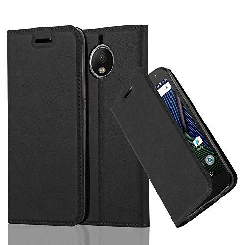 Cadorabo Hülle für Motorola Moto G5S Plus in Nacht SCHWARZ - Handyhülle mit Magnetverschluss, Standfunktion & Kartenfach - Hülle Cover Schutzhülle Etui Tasche Book Klapp Style